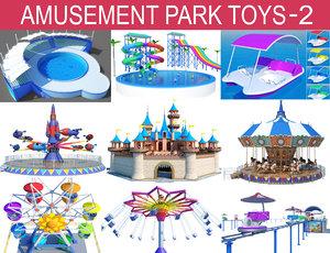 3D park carousel horse model