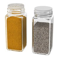 Clear Square Spice Jar with kari and pepper