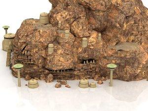 mountain cliff rock mount 3D