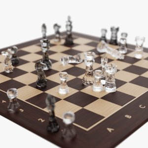 chess set glass 3D model
