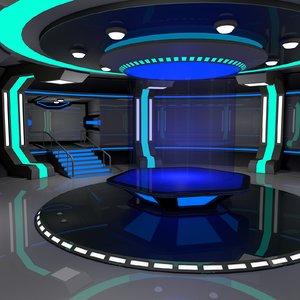 sci fi interior scene 3D model