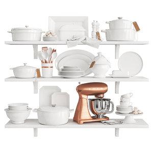 3D set white kitchen decor model