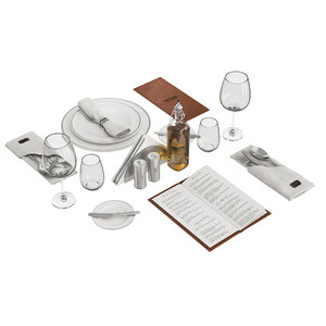 3D set table restaurant