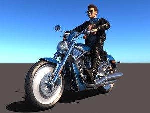 rigged rider motorbike 3D model