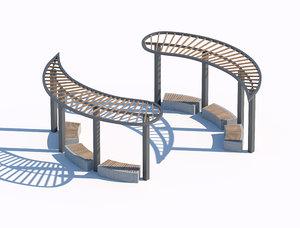 3D sunshade summerhouse bench