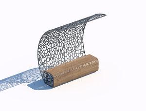 parametric wooden bench abstract 3D