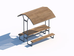 wooden sunshade summerhouse bench 3D model