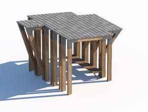 timber wood sunshade summerhouse 3D model