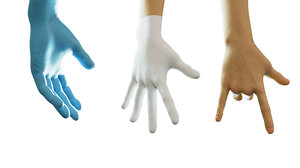 3D gloved medical hand rig