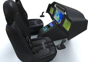 3D aircraft control panel pilot