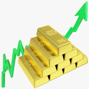 3D model graph golden bars rising