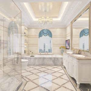 3D bathroom bathtub shower toilet fixtures model