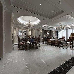 3D interior design empire style model
