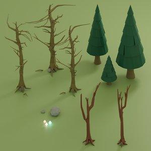 trees plant nature model