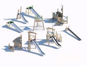 children wooden playground 3D
