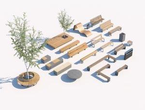 street bench pack v03 3D model