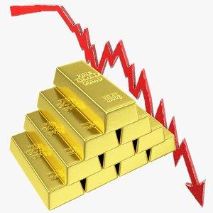 graph golden bars 3D model