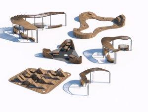 3D parametric wooden bench park