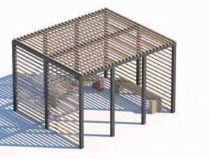 3D model wooden sunshade summerhouse