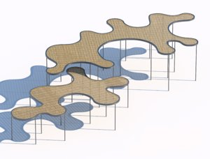 3D rattan sunshade architectural model