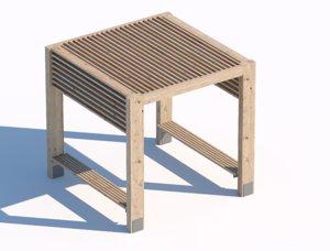 3D wooden street summerhouse model