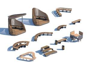 3D model wood parametric street