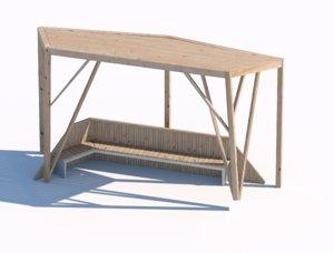 wooden sunshade summerhouse 3D model