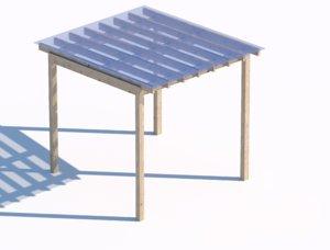 wooden sunshade summerhouse transparent model