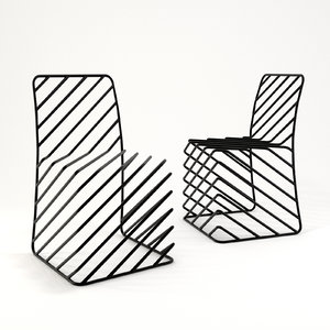 3D black lines chair model