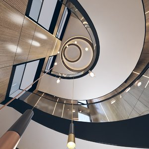 hall spiral staircase 3D model