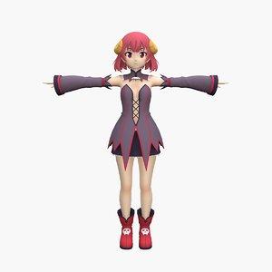 3D anime halloween girl model