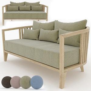 3D sofa linen velour