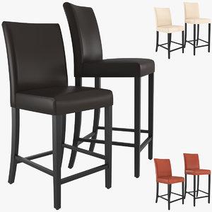 lowe leather bar stool 3D model