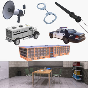3D model police car building room