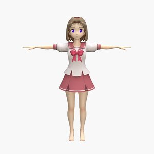 anime school girl 3D