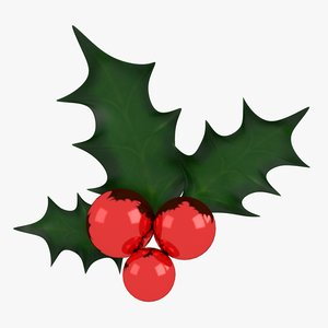 3D holly decoration model