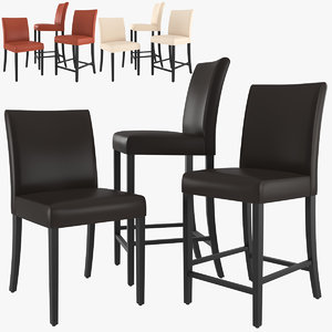 lowe leather dining chair 3D model