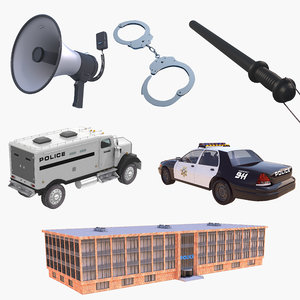 police car building handcuffs 3D model