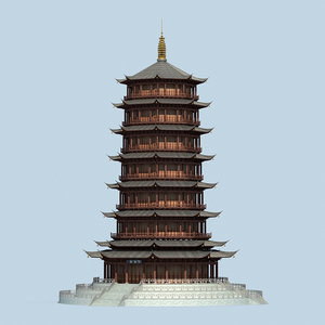 3D model chinese pagodas