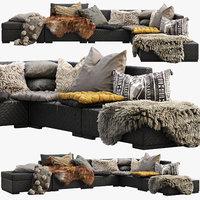 Brown Jordan 4M outdoor wicker modular sofa
