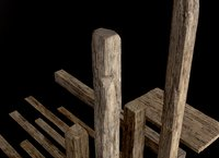 Wooden Planks and Beams 13 pieces