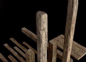 3D old planks
