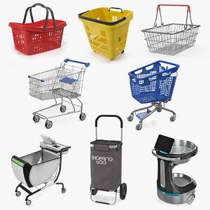 shopping baskets trolley 4 3D model