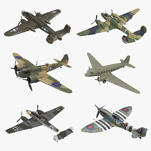 vintage military bombers rigged 3D model