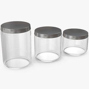 3D glass jars metal lid model