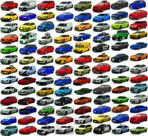 3D model car pack low-poly 100
