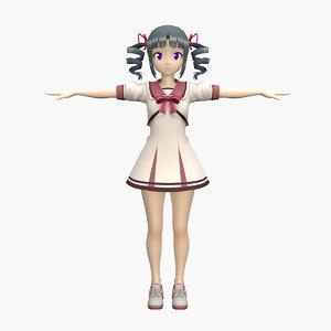 anime school girl v2 3D model