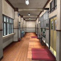 Japanese School Hallway