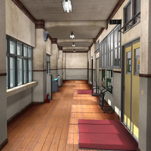japanese school hallway 3D model