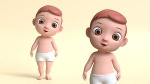 cartoon baby boy 3D model